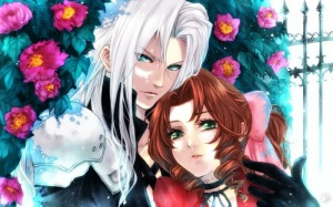 Sephiroth and Aeris Near the Roses