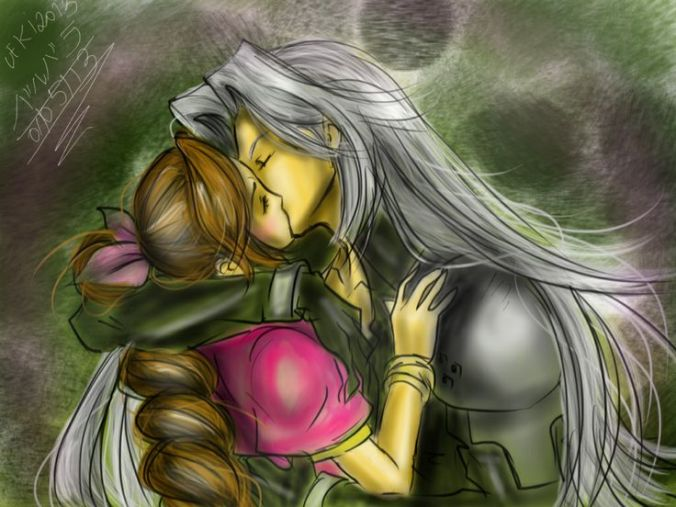 Sephiroth and Aeris Kiss by