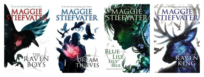 The covers of The Raven Cycle by Maggie Stiefvater including the the titular first book, The Dream Thieves, Blue Lily Lily Blue, and The Raven King