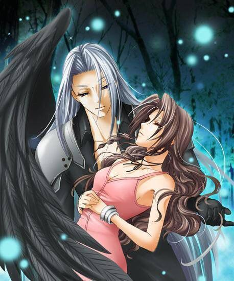 Fanart of Sephiroth holding a swooning Aeris