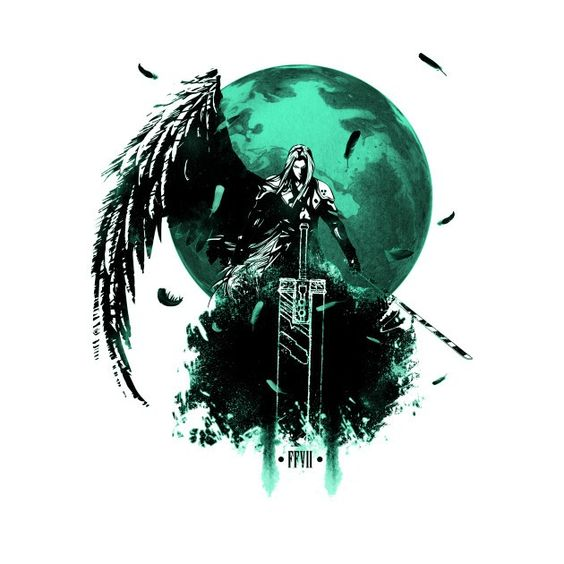 Sephiroth with sword and wing standing in front of the Planet or Meteor