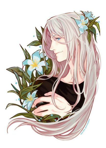 Appearing to be a picture of Sephiroth with blue lilies in his hair