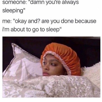 Meme of woman in bed wearing a night cap