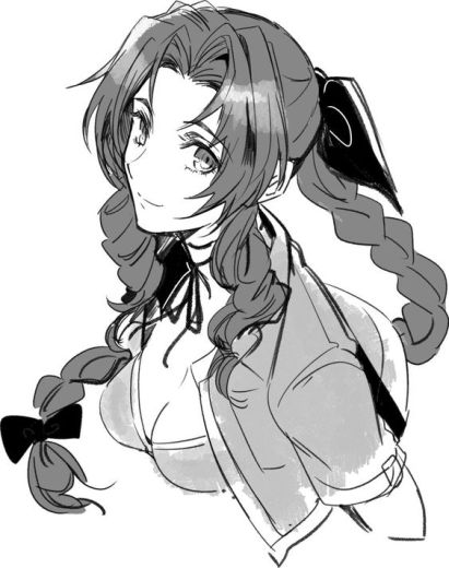 Black and white drawing of Aeris/Aerith