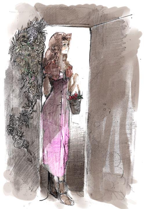 Aeris standing in a doorway