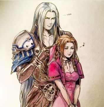 Sephiroth braiding Aeris's hair