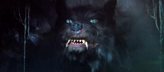 The servant of the Nothing from The Neverending Story, a large black wolf with big fangs and green eyes