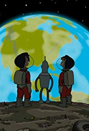 Screenshot from the fore mentioned episode. Leela, Fry, and Bender looking at earth from the gigantic garbage ball.