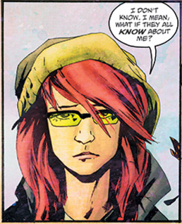 "Sailor from Wytches. She has reddish and is wearing a yellow hat and yellow tinted, rectangular glasses. Her expression is troubled. Her speech bubble says, ""I don't know. What if they all know about me?"" where the ""know"" is in bold."